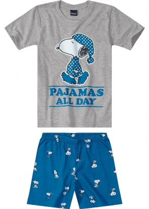 Pijama Infantil Masculino Verão Cinza Snoopy - Malwee
