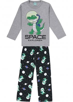 Pijama Infantil Masculino Inverno Cinza Space Explorer - Kyly