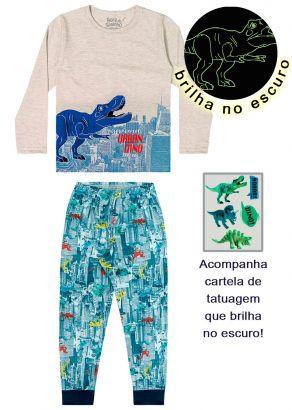 Pijama Infantil Masculino Inverno Cinza Dinossauro Elian