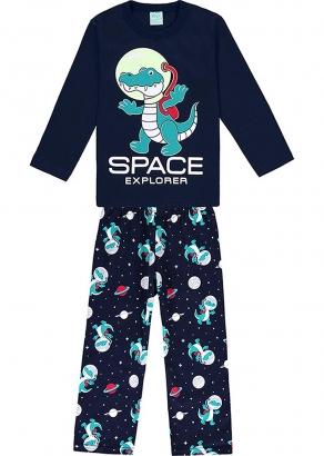 Pijama Infantil Masculino Inverno Marinho Space Explorer - Kyly