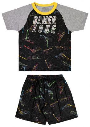 Pijama Infantil Masculino Verão Preto Gamer Elian