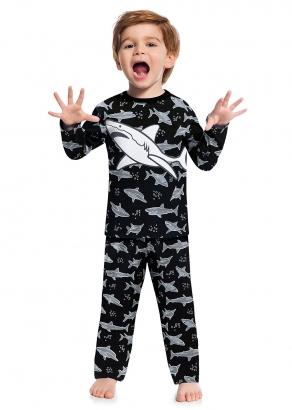 Pijama Infantil Masculino Inverno Preto Shark Kyly