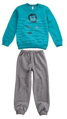 Pijama Moletom Infantil Masculino Inverno Verde Leão Malwee