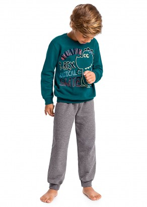 Pijama Infantil Masculino  Inverno Verde Roar Malwee