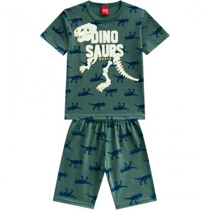 Pijama Infantil Masculino Verão Verde Dinosaurs Kyly