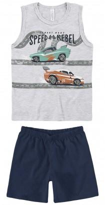 Pijama Infantil Masculino Verão Cinza Speed Malwee