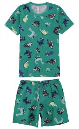 Pijama Infantil Masculino Verão Verde Dino Bones Malwee