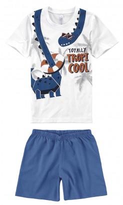 Pijama Infantil Masculino Verão Branco Cool Malwee