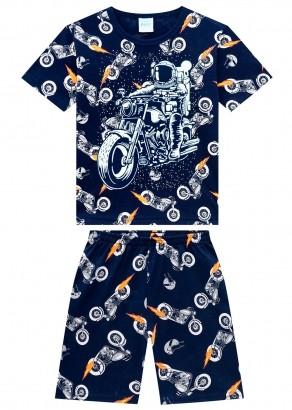 Pijama Infantil Masculino Moto Azul Marinho Brilha no Escuro - Kyly