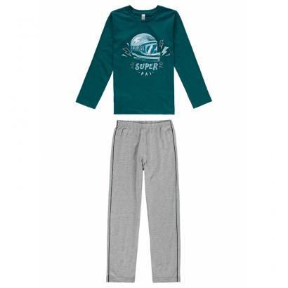 Pijama Infantil Masculino Pai e Filho Verde Inverno Malwee