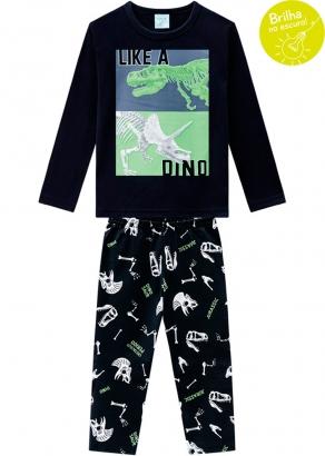 Pijama Infantil Masculino Preto que Brilha no Escuro Dino Inverno Kyly