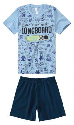 Pijama Infantil Masculino Verão Azul Longboard Malwee