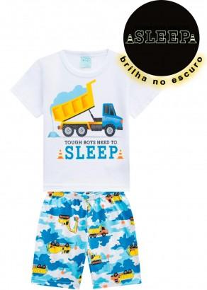 Pijama Infantil Masculino Verão Branca Sleep Kyly