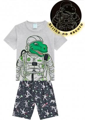 Pijama Infantil Masculino Verão Kyly Cinza Astrodino Brilha no Escuro