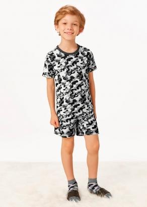 Pijama Infantil Masculino Verão Cinza Camuflado - Malwee
