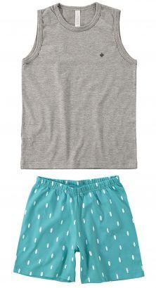 Pijama Infantil Masculino Verão Cinza Mescla Claro Malwee