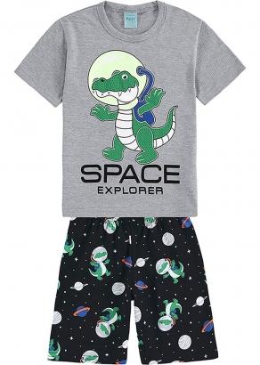 Pijama Infantil Masculino Verão Cinza Space Explorer - Kyly
