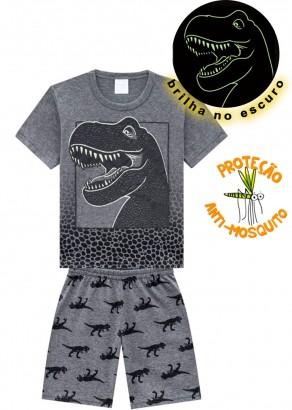 Pijama Infantil Masculino Verão Cinza T-Rex Kyly
