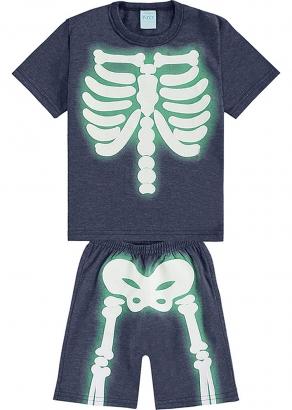 Pijama Infantil Masculino Verão Marinho Esqueleto - Kyly
