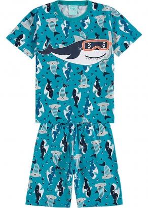 Pijama Infantil Masculino Verão Verde Sea Sharks - Kyly