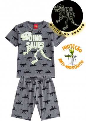 Pijama Infantil Kyly Masculino Dinosaurs Cinza