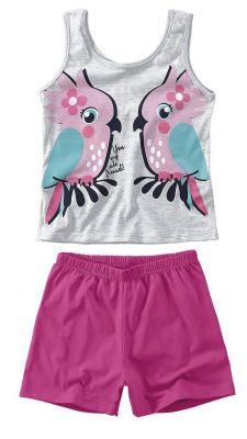 Pijama Infantil Feminino Cinza Mescla Arara Brilha no Escuro Malwee