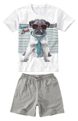 Pijama Infantil Masculino Branco Cachorro Malwee