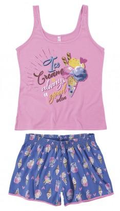 Pijama Adulto Feminino Verão Rosa MÃE E FILHA Malwee