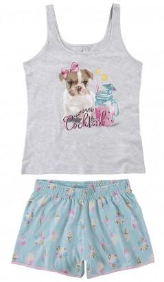 Pijama Adulto Feminino Verão Cinza MÃE E FILHA Malwee