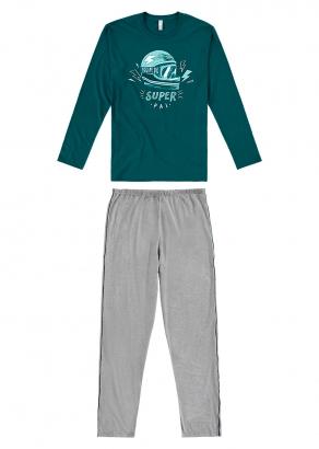 Pijama Masculino Adulto Pai e Filho Verde Inverno Malwee