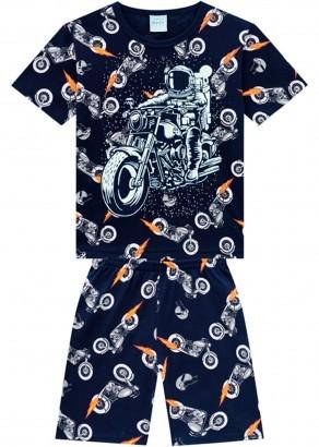 Pijama Infantil Masculino Short e Camiseta Azul Marinho - Kyly