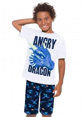 Pijama Infantil Masculino Short e Camiseta Branco - Kyly