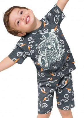 Pijama Infantil Masculino Short e Camiseta Cinza - Kyly