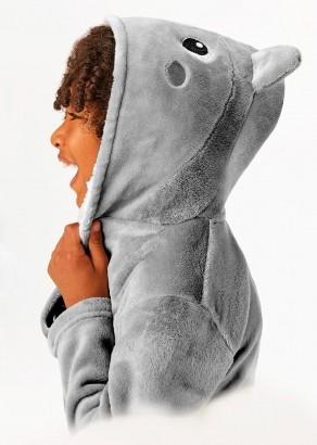 Roupão Pijama Infantil Masculino Cinza Inverno Malwee