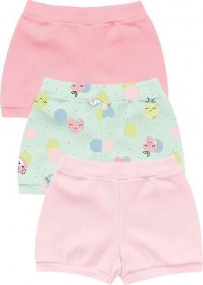 Short Infantil Feminino Verão Kit 3 Rosa Cute - Kiko e Kika