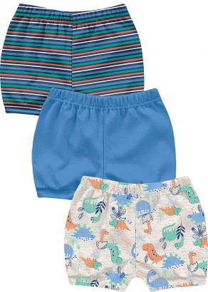 Short Infantil Masculino Verão Kit 3 Azul Bichinhos - Kiko e Kika