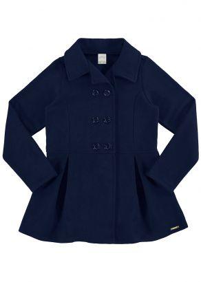 Sobretudo Infantil Feminino Inverno Azul Long Alakazoo