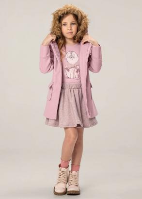 Sobretudo Infantil Feminino Inverno Rosa Capuz c/ Pelo Removível - Carinhoso