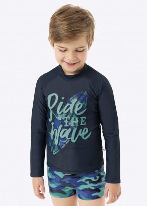 Blusa com Proteção UV + Sunga Boxer Infantil Verão Azul Ride Malwee