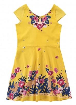 Vestido Infantil Amarelo Estampado - Malwee