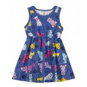 Vestido Infantil Azul Gatinhos Elian