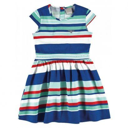 Vestido Infantil Azul Listrado Carinhoso