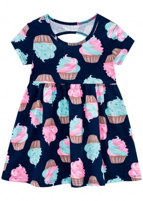 Vestido Infantil Azul Marinho Estampa Sorvete – Kyly