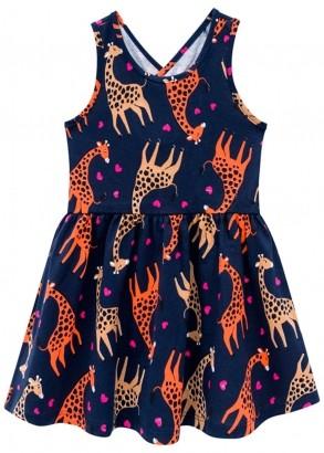 Vestido Infantil Azul Marinho Estampa Girafa - Kyly