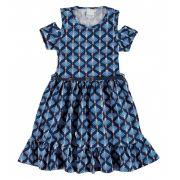 Vestido Infantil Azul Marinho Pétalas Malwee