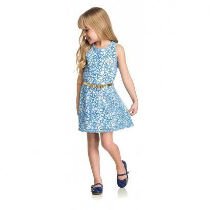 Vestido Infantil Azul Tule Elian