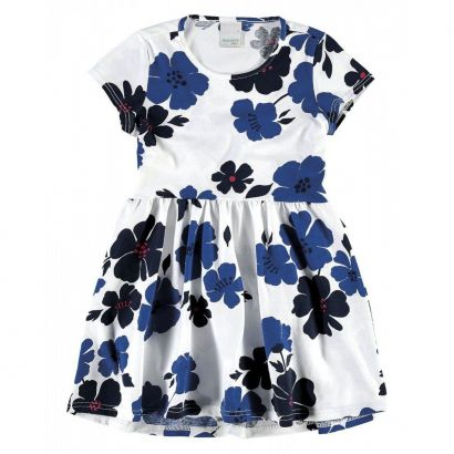 Vestido Infantil Branco e Azul Floral Malwee