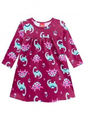 Vestido Feminino Infantil Rosa Dino Love Kyly
