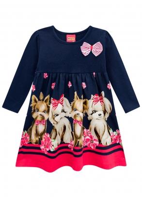 Vestido Feminino Infantil Azul Cute Dogs Kyly