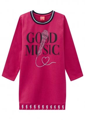 Vestido Infantil Feminino Rosa Inverno Music Kyly